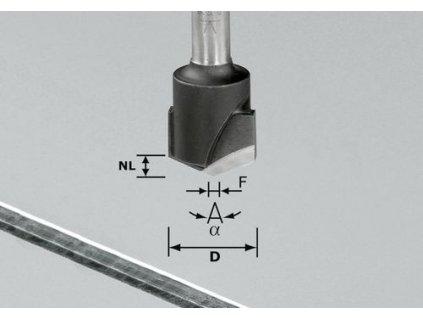 Drážkovací fréza ve tvaruV HW S8 D18-135°/Alu