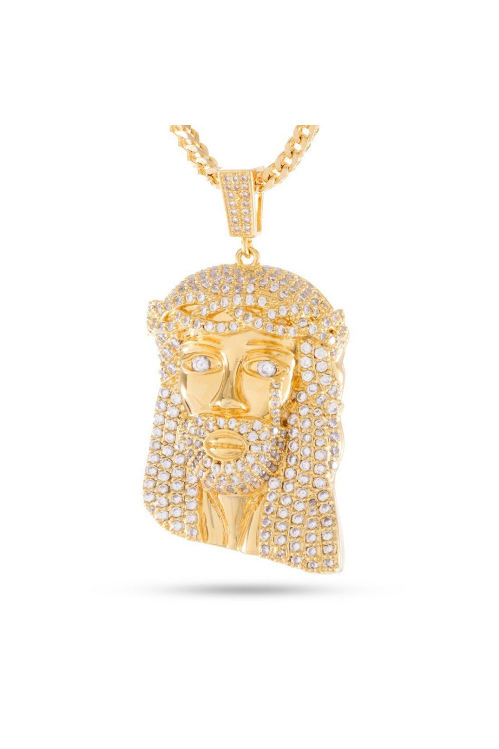 NKX10779 King Ice 14k Yellow Gold CZ Jesus Piece Necklace 7dd7e9df 61d1 40d1 bebb c6f452caa555