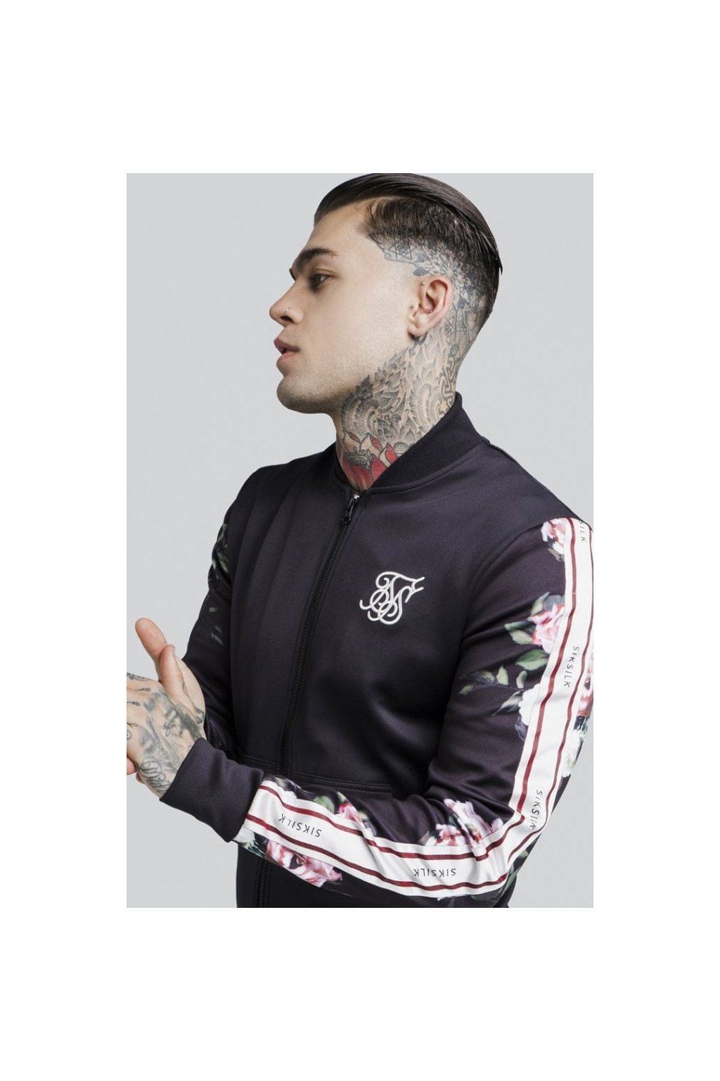 siksilk oil paint poly tricot bomber jacket black p2646 21850 medium