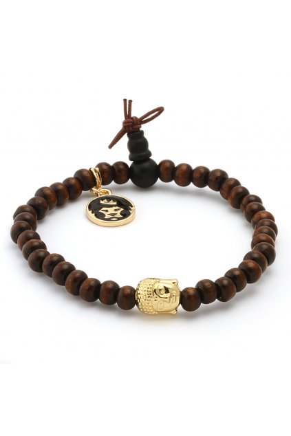 brown wood gold buddha bracelet brx09829 1100 2 1