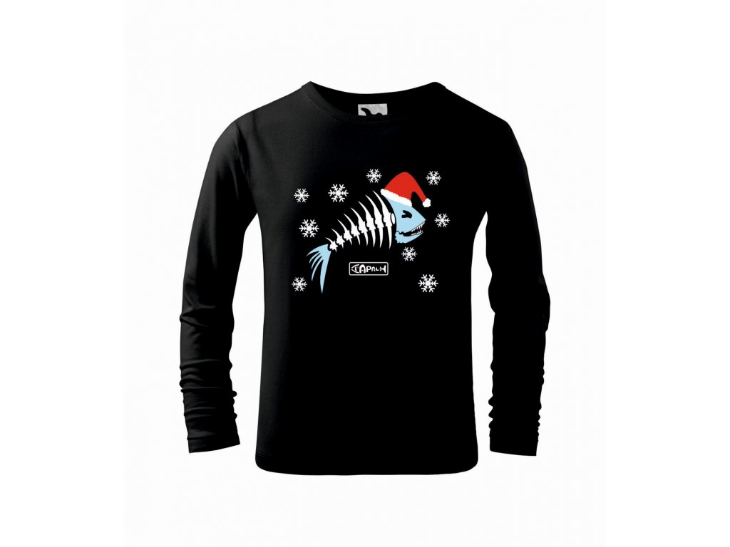 Triko dětské Vánoční rybí kostra černá r