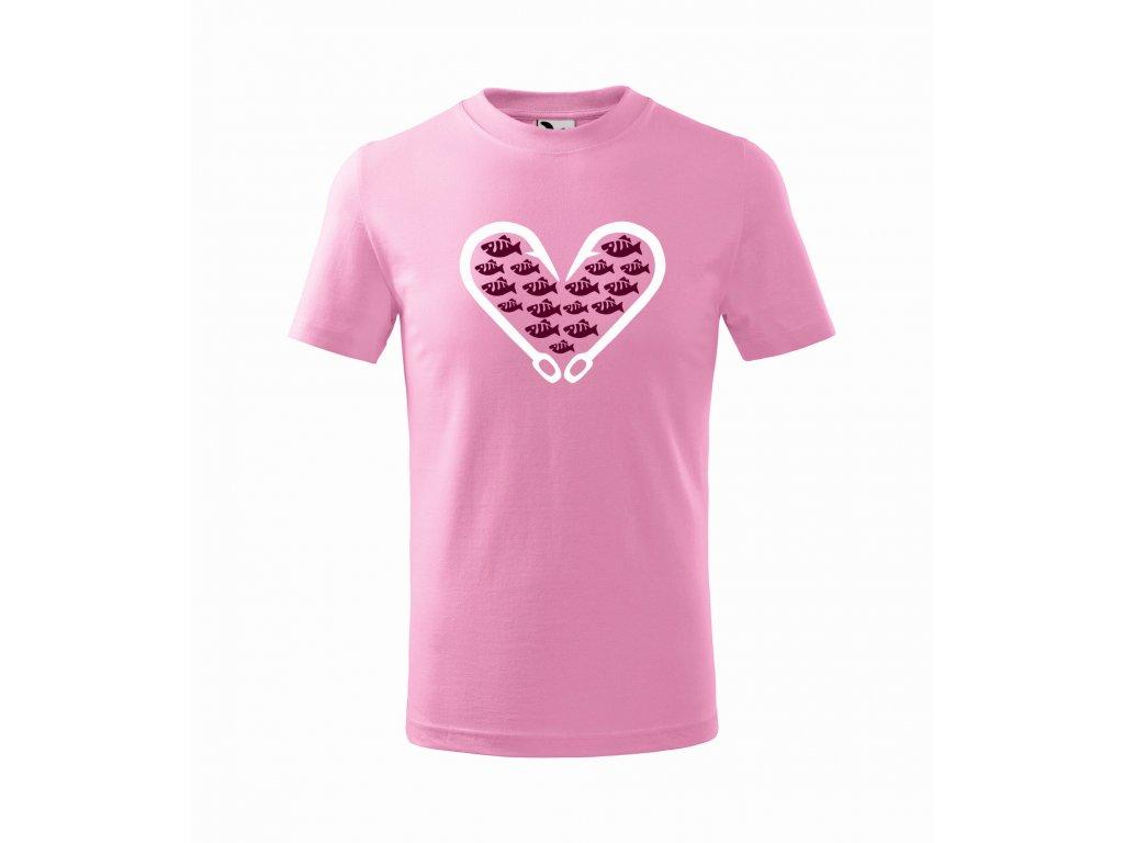 Triko dětské srdce z háčků Ružová r