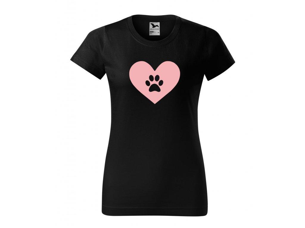 Triko dámské Srdce se psí ťapkou černé
