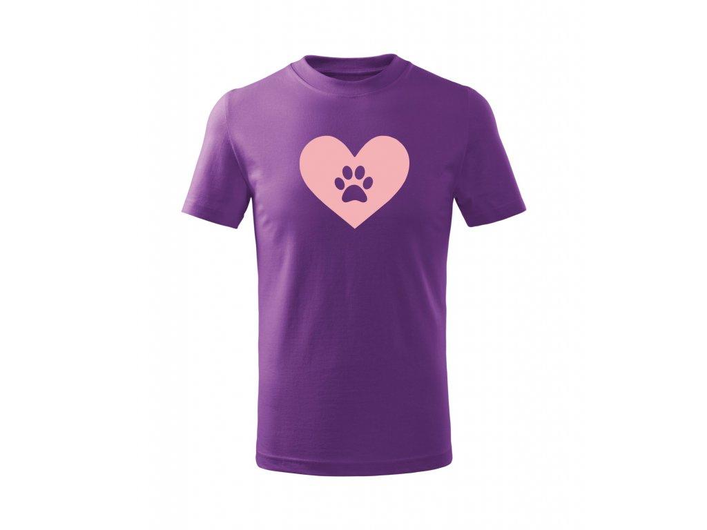 Triko pánské Srdce se psí ťapkou fialové
