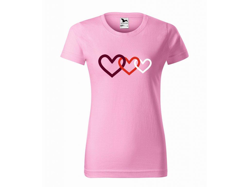 Triko dámské Tři srdce HAPALI Růžová r