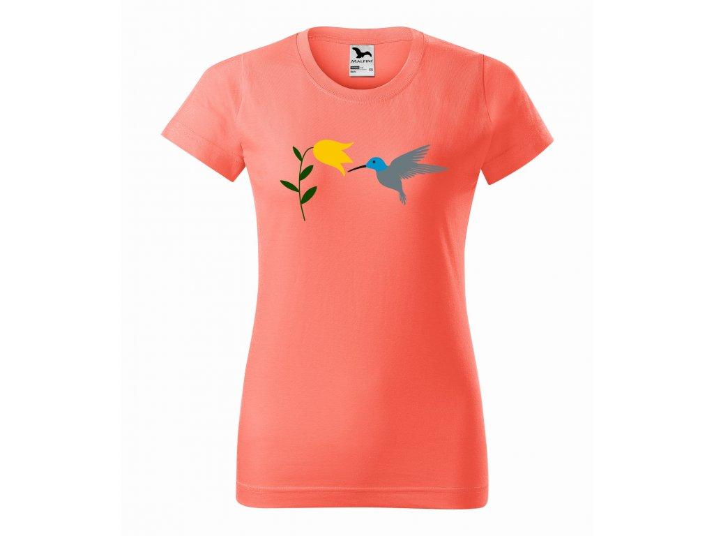 Triko dámské Kolibřík a květina korálové r
