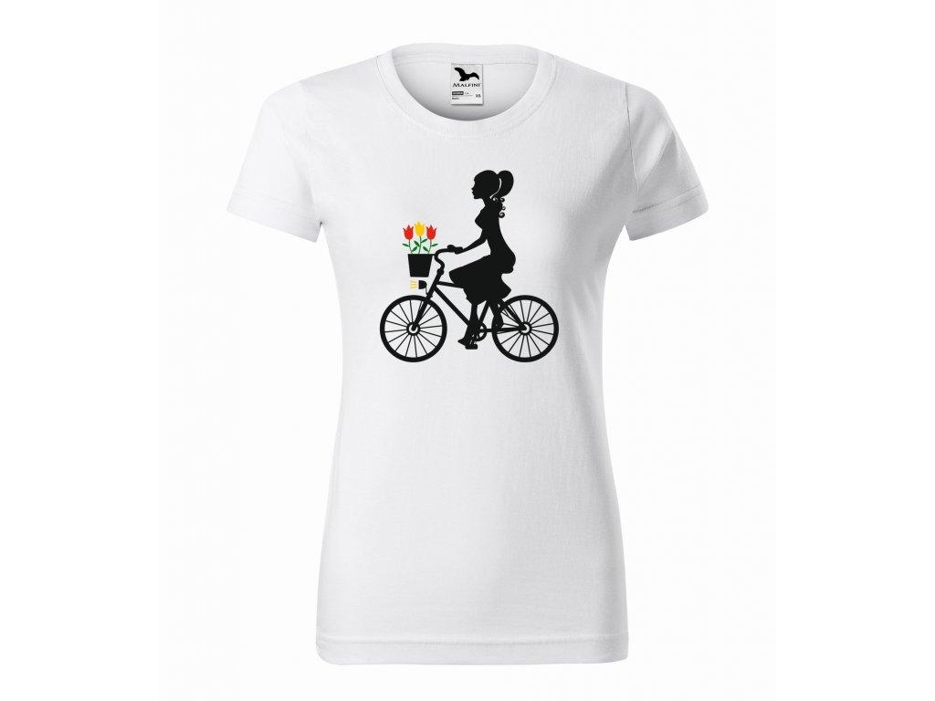 Triko dámské Dívka na kole bílá r