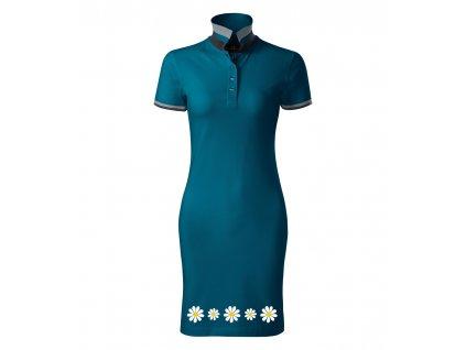 Dámské šaty Kopretiny Petrolejová 1