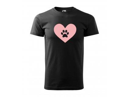Triko pánské Srdce se psí ťapkou černé
