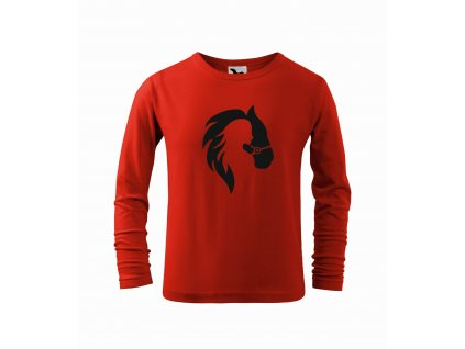 Triko dětské Dívka a kůň červené r