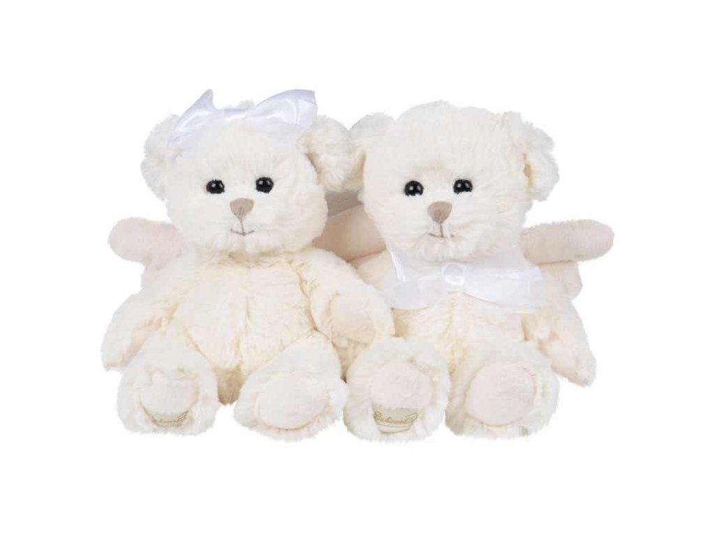 medvídek KAITLYN OFF/WHITE andílek mašle bílý na hlavě