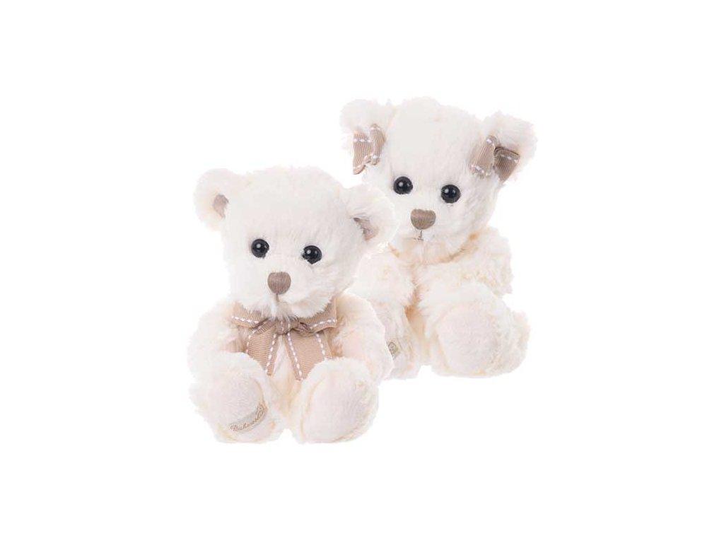 BK CASPAR bílý medvěd s mašlí kolem krku