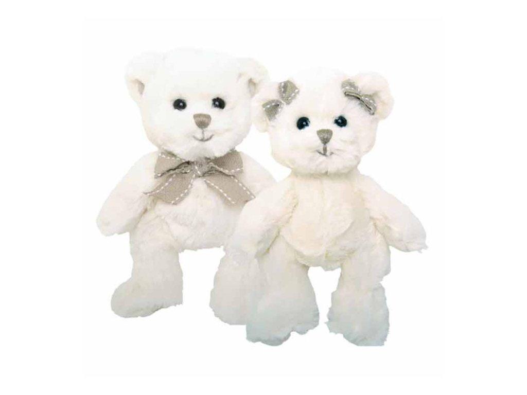 BK CAROLINE bílý medvěd s mašlí na hlavě