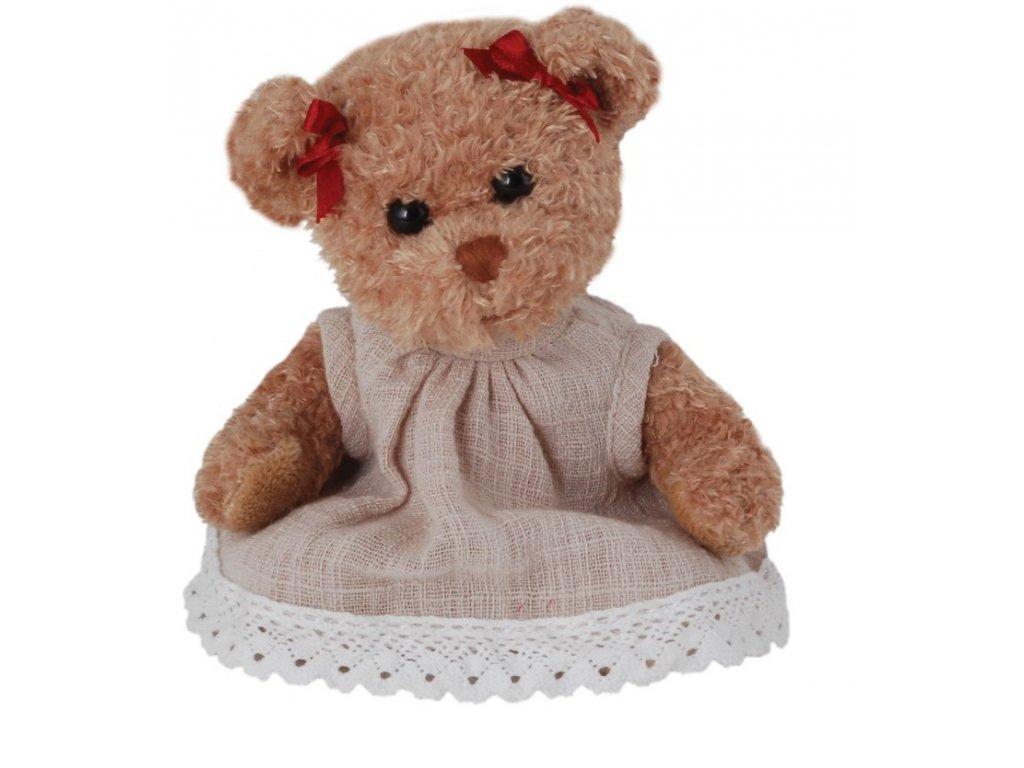BK ANTONIA medvěd v béžových šatech a červenou mašlí