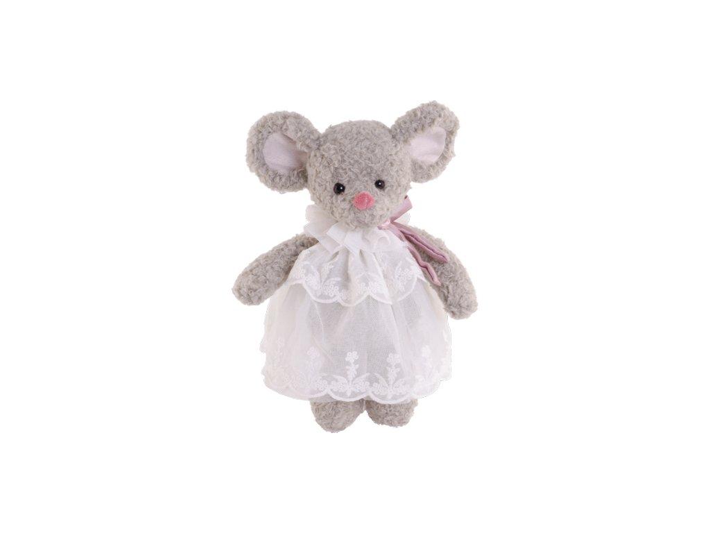 BK ANASTASIA myška šedá, bílé šaty (25cm) Bukowski Design