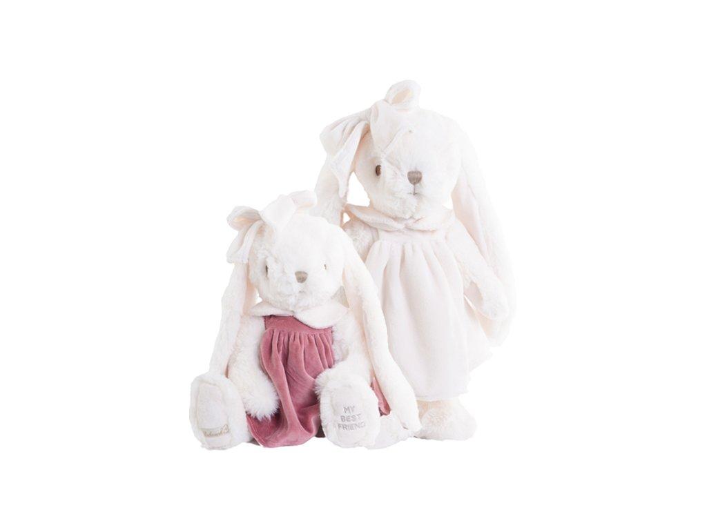 BK CLAUDIA zajíc bílý v krémových sametových šatech
