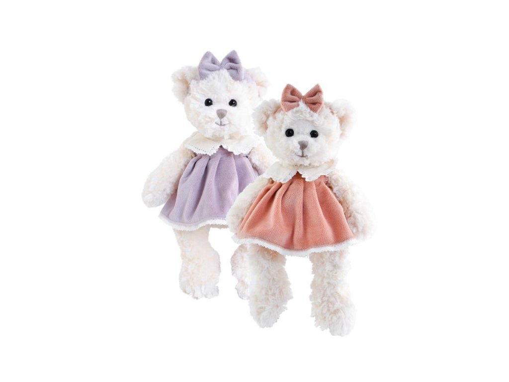 BK SWEET CECILIA medvěd s růžovou mašlí a v růžových šatech (30cm) NOVINKA
