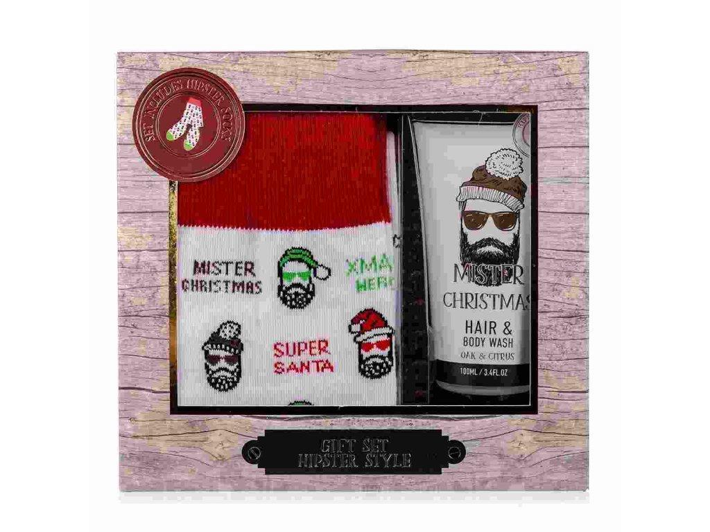 Koupelový set HIPSTER STYLE s ponožkami s vánočním motivem