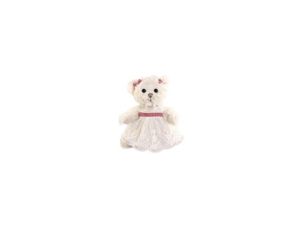 BK LITTLE NINKA medvídek, bílé šaty s růžovou mašlí