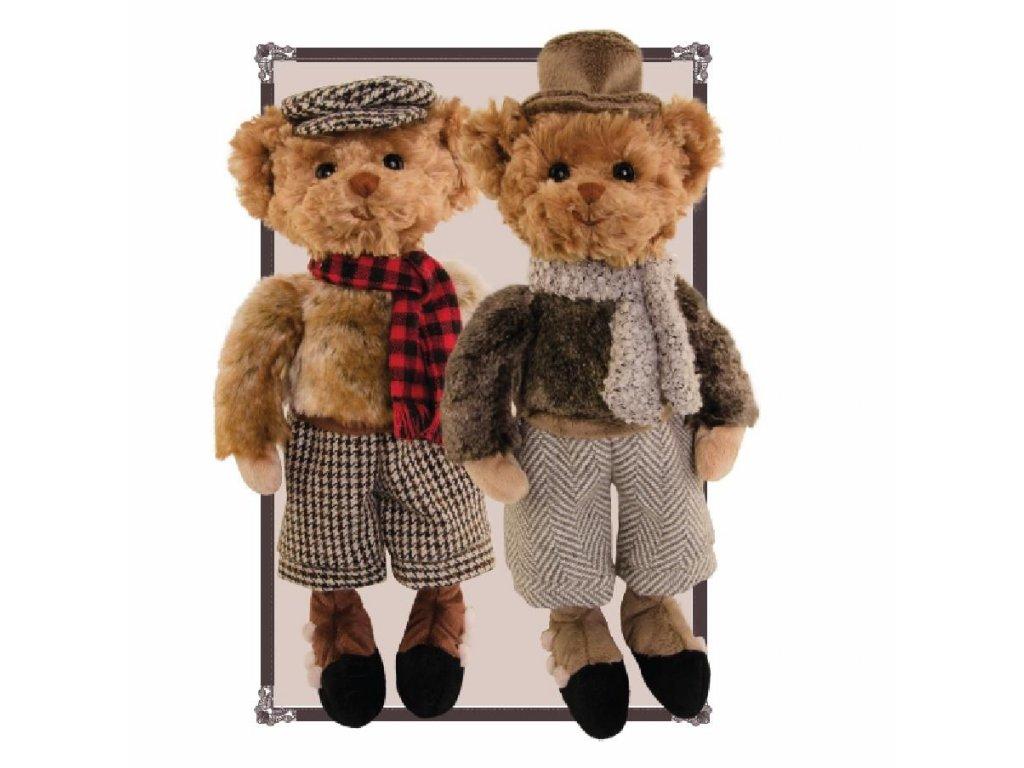 BK HERR NILSSON medvídek oblečený - retro (šedá šála)