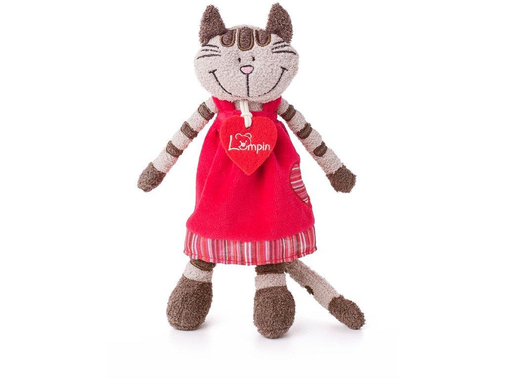 Kočička ANGELIQUE (23cm) v jahodových šatech