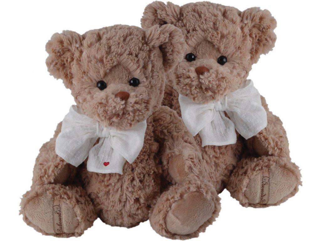 BK HARRY medvěd s látkovou přírodní mašlí