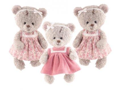 Medvídek Eleonora v květovaných šatech (25cm)