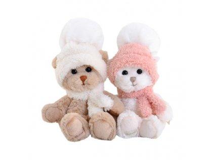 BK BABY JULIA zajíček bílý s růžovou šálou a čepicí (18cm) NOVINKA
