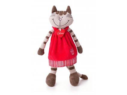 Kočka ANGELIQUE (36 cm) v jahodových šatech