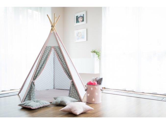 Teepee Star Pink (Konfigurace Základní (stan, tyče))