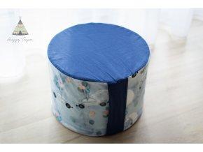 Sedací pufík - modrá/autíčka