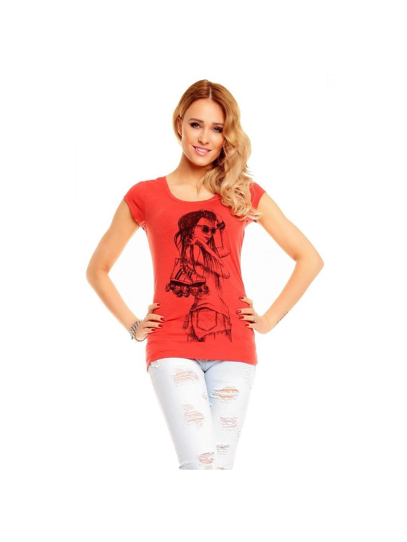 Dámské cihlově červené tričko s potiskem velikost XL