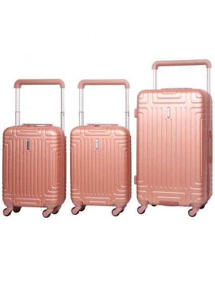 Sada cestovních kufrů AEROLITE T-2821/3 ABS - růžová