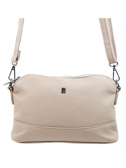 Béžová crossbody dámská kabelka se třemi oddíly 5414-BB