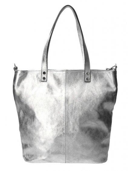 Kožená velká dámská shopper kabelka Juliette stříbrná