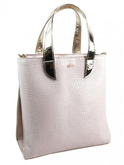 Velká pudrovo-zlatá dámská kabelka do ruky i na rameno S777 GROSSO