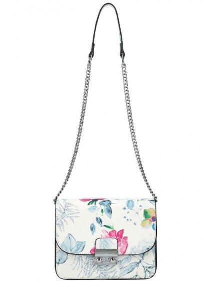 Crossbody dámská kabelka na řetízku v květovaném motivu XS7033 světle šedá