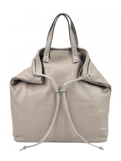 Pierre Cardin Kožená velká dámská kabelka do ruky / batoh tmavě béžová (hnědo-šedá)