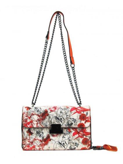 Crossbody dámská kabelka na řetízku s potiskem 6257 oranžová