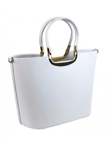 Elegantní bílá matná kabelka se zlatými doplňky S7 GROSSO