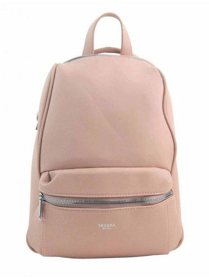 TESSRA MILANO Elegantní růžový dámský batoh / kabelka 4944-TS