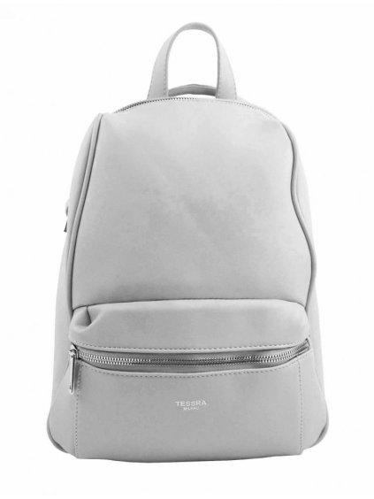 TESSRA MILANO Elegantní světle šedý dámský batoh / kabelka 4944-TS