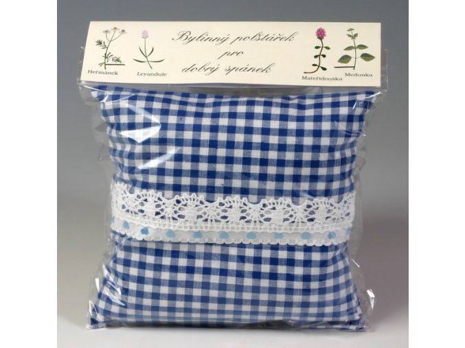 Bylinný polštářek pro dobrý spánek bílý s tm.modrými kvítky
