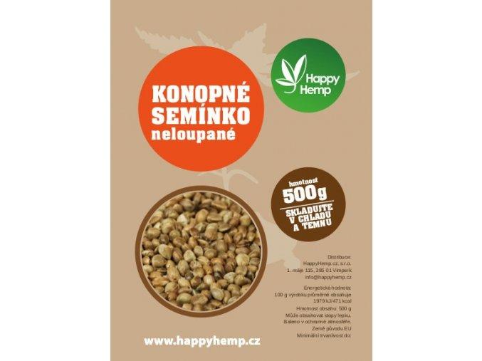 HappyHemp Konopné semínko neloupané 500g