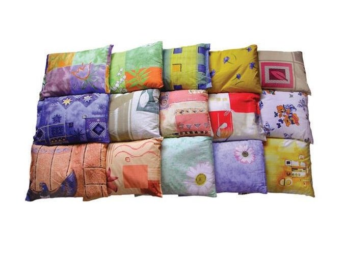Pohankový polštář pro zdravý spánek oranžovo-béžovo zelená abstrakce