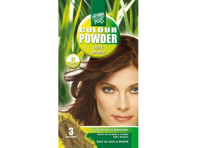 HennaPlus přírodní barva na vlasy prášková tmavě hnědá 57 100g