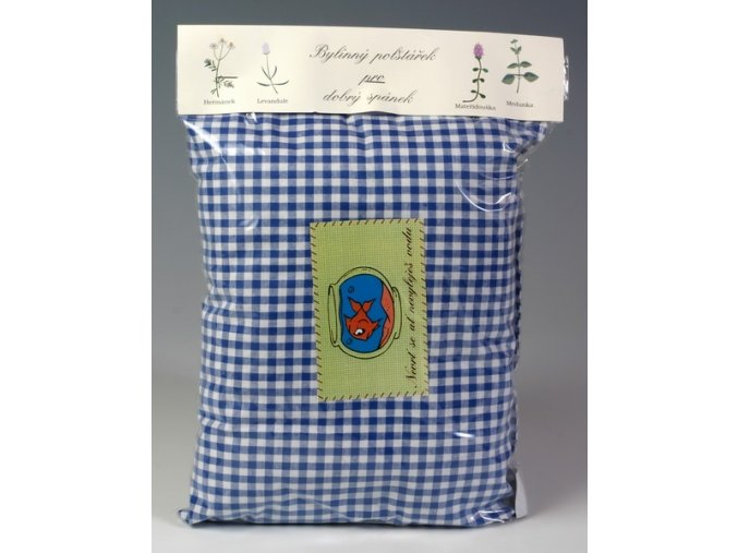 Bylinný polštářek pro dobrý spánek modrý s bílými kvítky