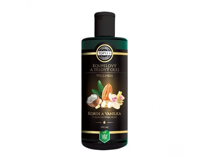 Topvet Koupelový a tělový olej Kokos a vanilka v mandlovém oleji 200ml