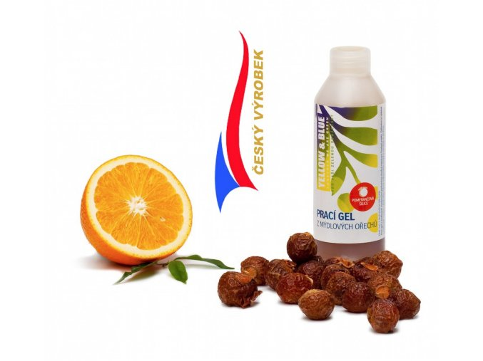 Yellow & Blue Prací gel z ořechů Pomeranč 250ml