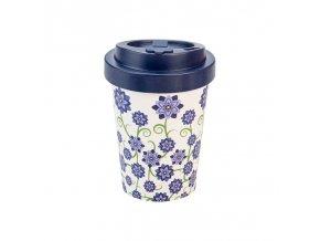 opakovane pouzitelny kelimek na kavu woodway bouquet of flowers blue 300 ml